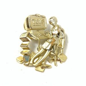 VINTAGE GOLD TGIF COMPUTER WORK BROOCH PIN